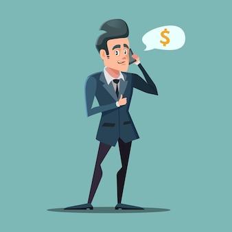 Geschäftsmann, der mit daumen hoch am telefon spricht. geld verdienen konzept.
