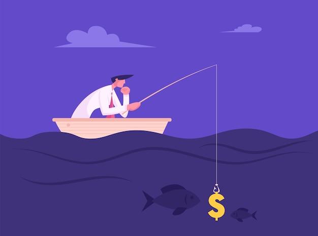Geschäftsmann, der mit dollarzeichen wie köder fischt