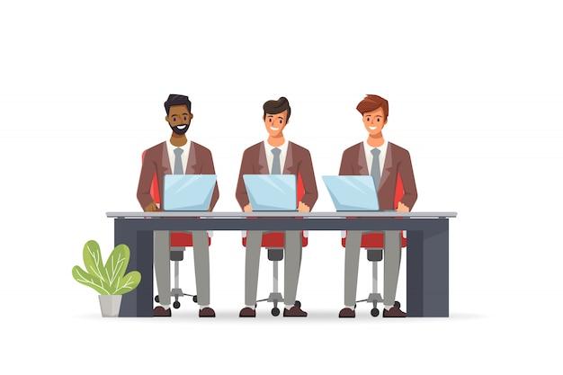 Geschäftsmann, der mit einem laptop und kommunikation arbeitet. call center kundendienst job charakter.