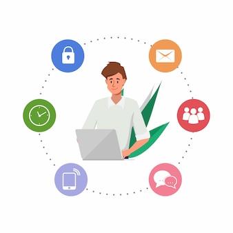 Geschäftsmann, der mit einer laptop-computer und einem infographic arbeitet.
