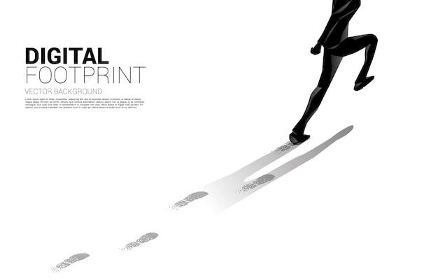 Geschäftsmann, der mit fußabdruck vom digitalen punktpixel läuft. geschäftsbanner der digitalen transformation und des digitalen fußabdrucks.