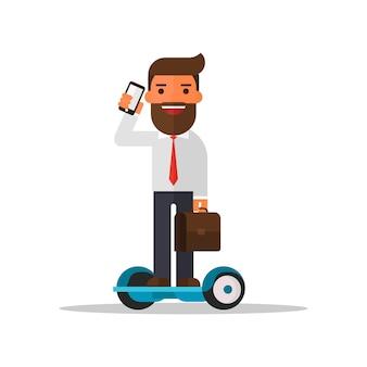 Geschäftsmann, der mit handy auf hoverboarding spricht