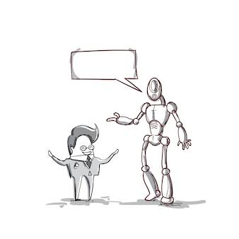 Geschäftsmann, der mit modernem roboter, geschäftsmann meeting discussion spricht