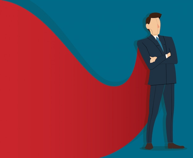 Geschäftsmann, der mit rotem umhang steht