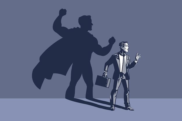 Geschäftsmann, der mit seinem schatten auf der rückseite steht. konzeptillustration der verborgenen macht und der fähigkeit des geschäftsmannes