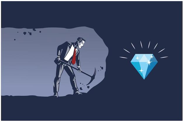 Geschäftsmann, der mit spitzhacke gräbt, um diamant zu erhalten. geschäftsillustrationskonzept der beständigen arbeit