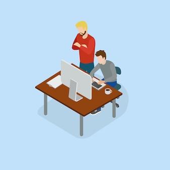 Geschäftsmann, der mit team auf kreativem ideenprojekt für das analysieren arbeitet