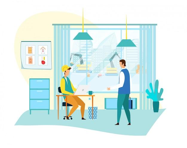 Geschäftsmann, der mit vorarbeiter im büro kommuniziert