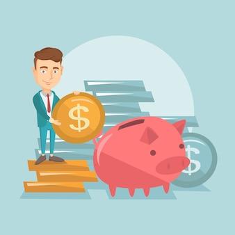 Geschäftsmann, der münze in sparschwein einsetzt.