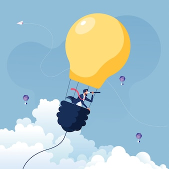 Geschäftsmann, der nach möglichkeiten im heißluftballon-glühbirnen-geschäftskonzept sucht