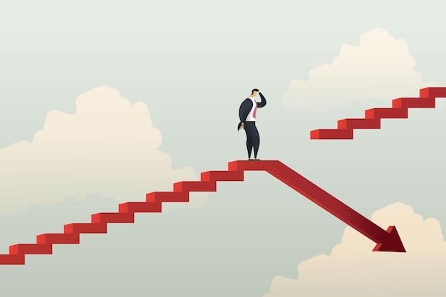Geschäftsmann, der nicht mit verlustentwicklung und beförderung oder karriere zum wachstum fortfahren kann