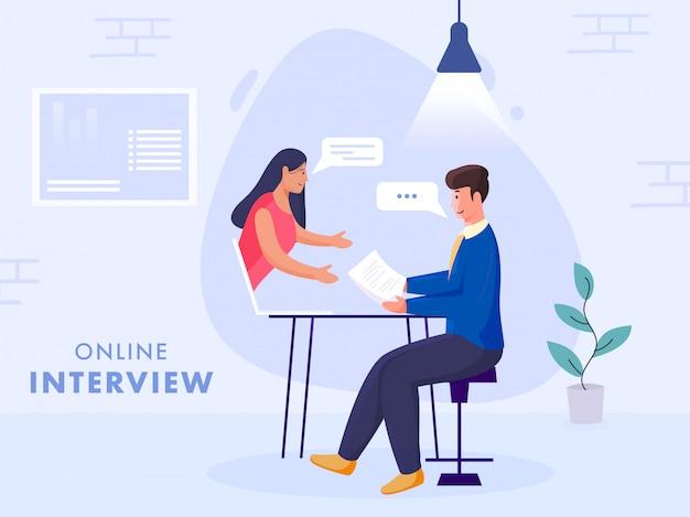 Geschäftsmann, der online-interview der frau im laptop auf blauem hintergrund für werbekonzept interviewt.