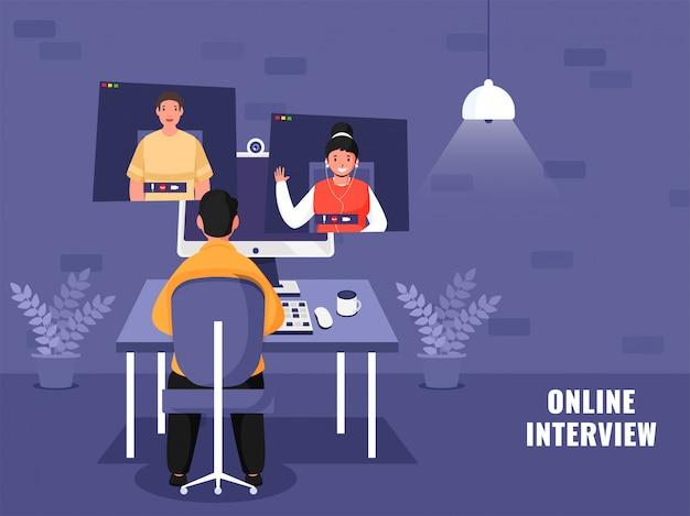 Geschäftsmann, der online interviewt, um kandidaten während des coronavirus im computer zu bewerben.