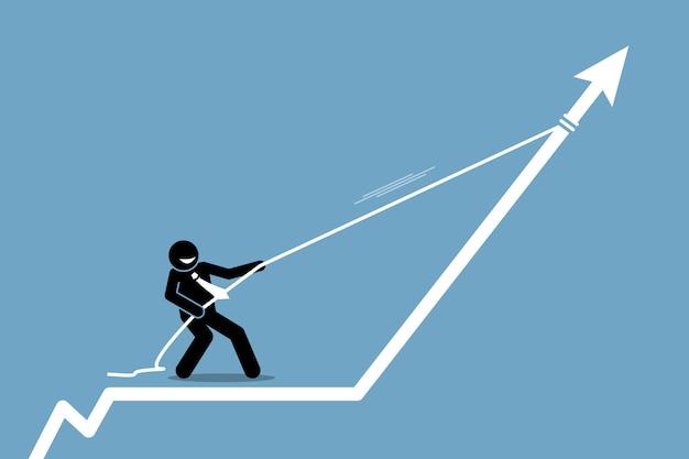 Geschäftsmann, der pfeilgraphkarte mit einem seil nach oben zieht. geschäftsmann, der pfeilgraphkarte mit einem seil nach oben zieht.
