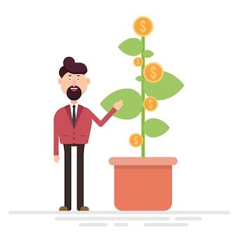 Geschäftsmann, der pflanze mit dollarmünzenvektorillustration zeigt