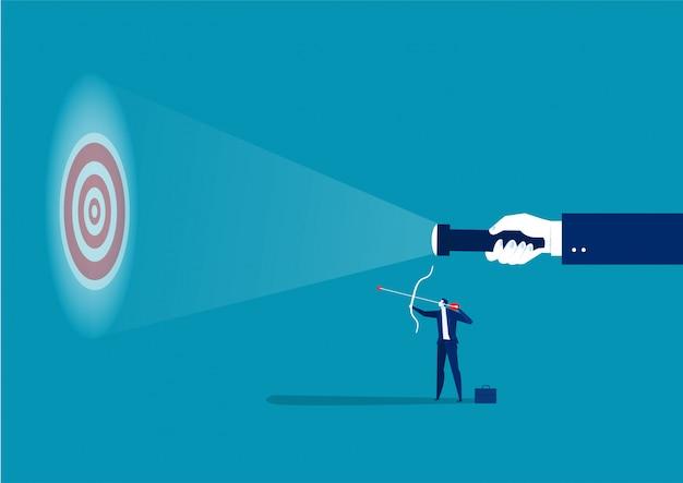 Geschäftsmann, der richtlinie an zielen für das schießen des erfolgskonzeptvektorillustrators sucht