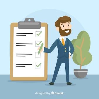 Geschäftsmann, der riesigen checklistenhintergrund überprüft