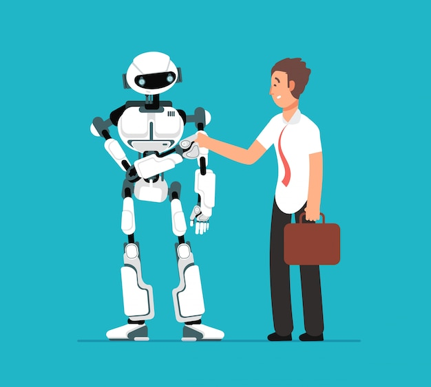 Geschäftsmann, der roboterhand rüttelt