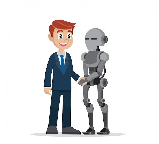 Geschäftsmann, der roboterhand rüttelt.