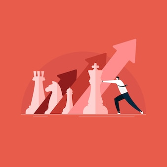 Geschäftsmann, der schach für geschäftsmarketing, wachstum und strategie spielt