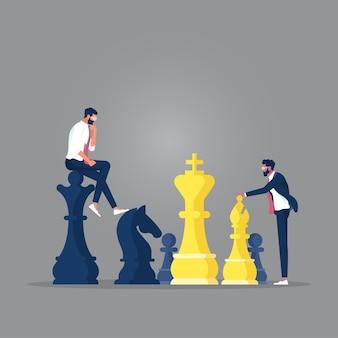 Geschäftsmann, der schach, planung und herausforderung spielt