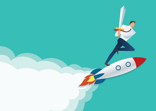 Geschäftsmann, der schwert auf der jet-rakete hält