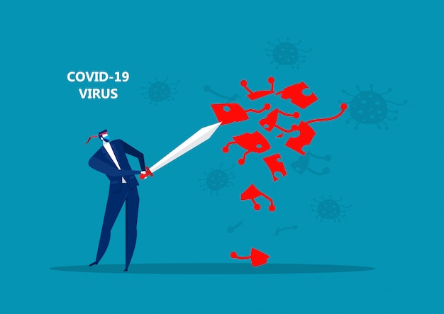 Geschäftsmann, der schwert hält, um covid 19 corona virus illustration zu schützen
