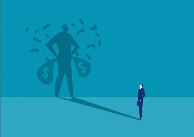 Geschäftsmann, der seinen reichen schatten mit geld schaut