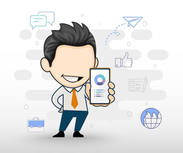 Geschäftsmann, der smartphone in der hand hält geschäftscharakterkarikatur im vektorstil