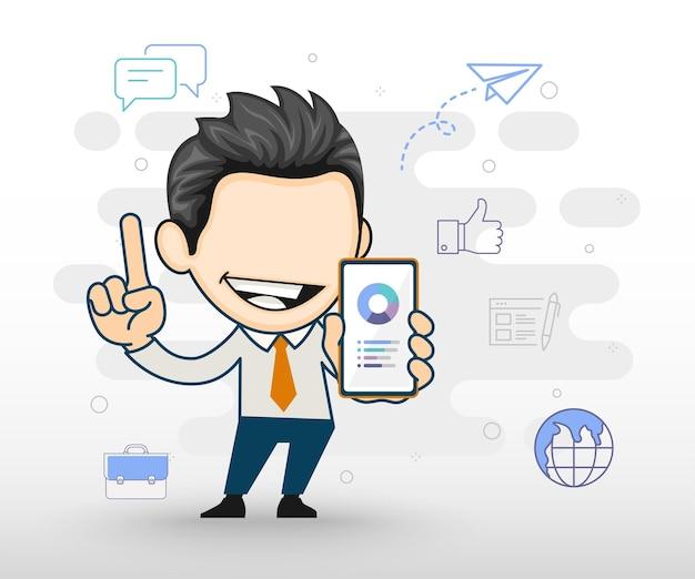 Geschäftsmann, der smartphone in der hand hält geschäftscharaktervektor
