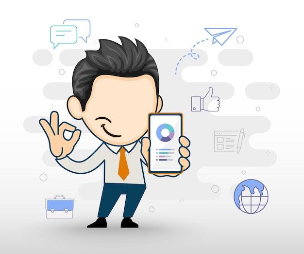Geschäftsmann, der smartphone in der hand hält telefonpräsentation und zeigt ok geste