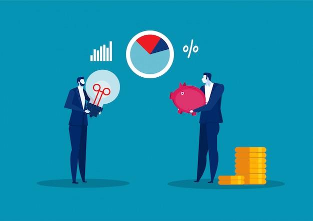 Geschäftsmann, der sparschwein-geld-investitions- und handelskonzept-flache illustration hält