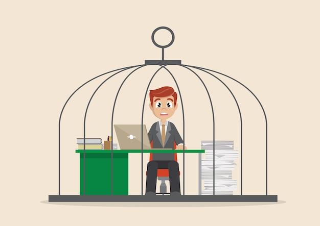 Geschäftsmann, der stark im birdcage arbeitet.