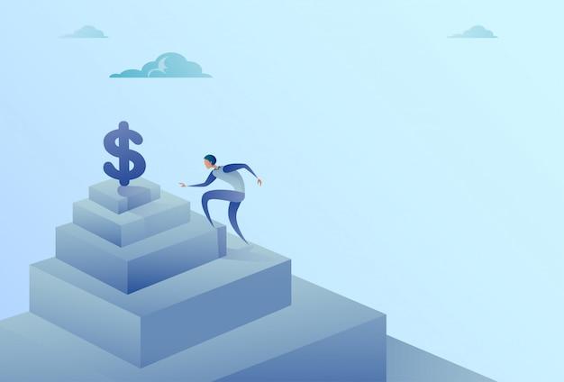 Geschäftsmann, der treppe zum dollarzeichen-finanzwachstums-erfolgs-konzept steigt