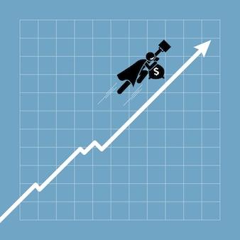 Geschäftsmann, der über dem diagramm hochfliegt, während der graph aufwärtstrend geht.
