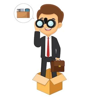Geschäftsmann, der über den tellerrand hinaus denkt, glücklicher geschäftsmann, willkommen zu neuen jobs