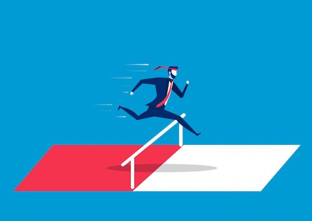 Geschäftsmann, der über hürden oder hindernisse springt. symbol für entschlossenheit, anspruch, ehrgeiz, motivation und erfolg