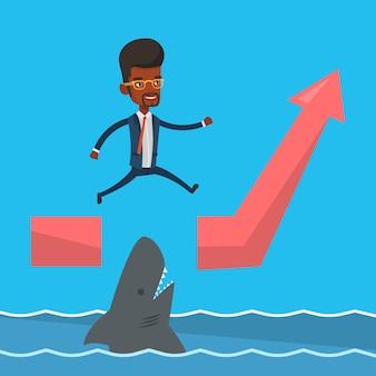 Geschäftsmann, der über ozean mit hai springt.