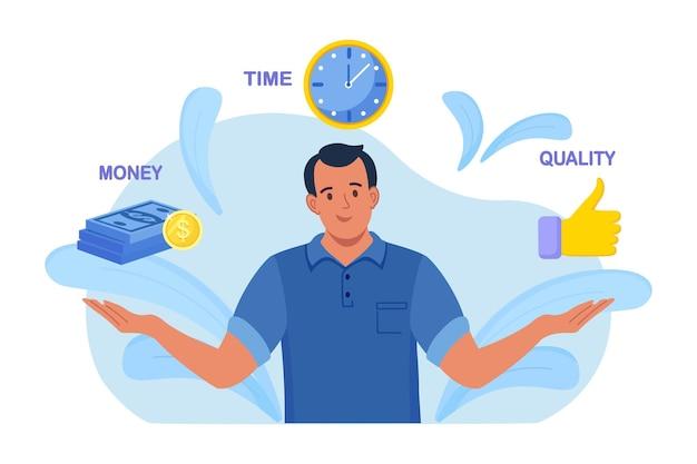 Geschäftsmann, der über widersprüchliche miteinander verbundene wertedreieck nachdenkt. zeit-, geldkosten- oder qualitätsfragekonzept. kundenerwartungen an die dienstleistung oder das produkt. vektor-illustration