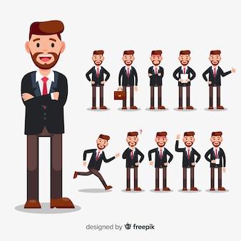Geschäftsmann, der verschiedene aktionen tut