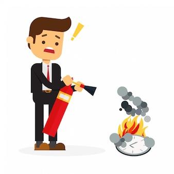 Geschäftsmann, der versucht, brennende große uhr herauszustellen