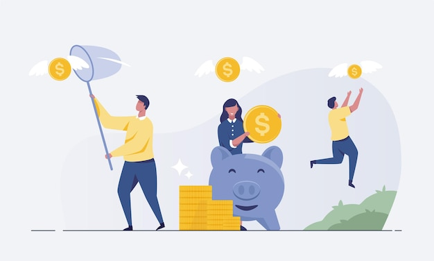 Geschäftsmann, der versucht, fliegendes geld zu fangen eine münze mit flügeln fliegt über ein sparschwein. geld verdienen konzept-vektor-illustration