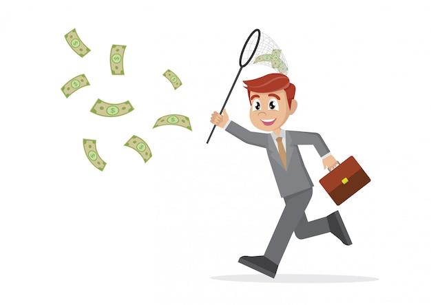 Geschäftsmann, der versucht, fliegendes geld zu fangen.