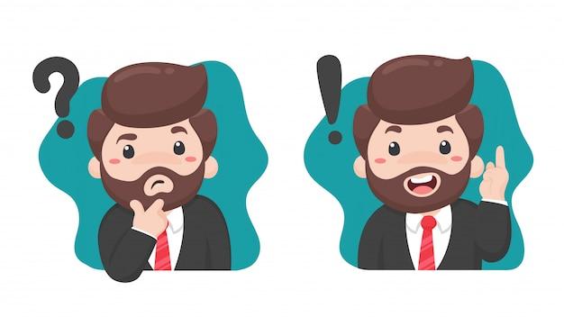 Geschäftsmann, der verwirrt ist, wenn er bestimmte entscheidungen trifft mit einem fragezeichen auf dem kopf