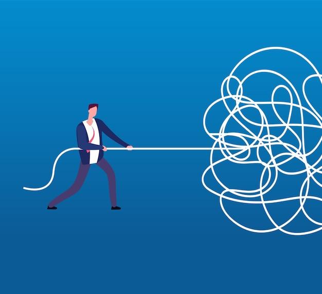 Geschäftsmann, der verwirrtes seil entwirrt. schwieriges problem, chaos und chaos geschäftskonzept.