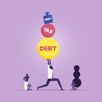 Geschäftsmann, der viele große steine mit dem wort schuldensteuerdarlehen auf ihm schweres bürdenkonzept trägt