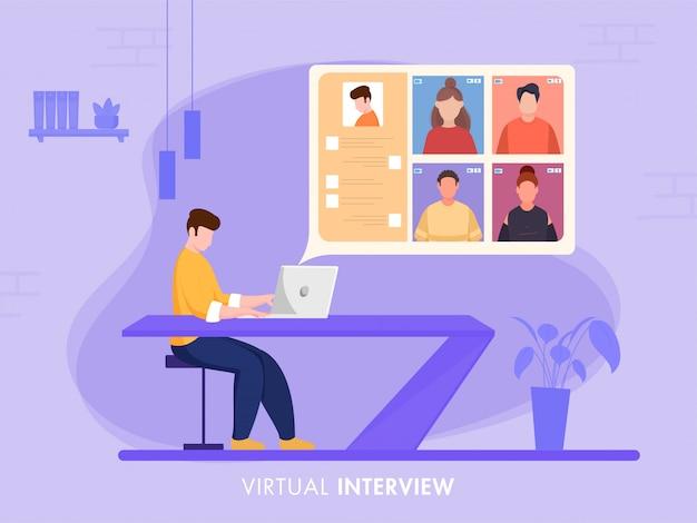 Geschäftsmann, der virtuell einen jobkandidaten vom laptop am schreibtisch auf lila hintergrund für die aufrechterhaltung der sozialen distanz interviewt.