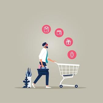 Geschäftsmann, der virtuelle brille für online-einkauf verwendet