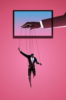 Geschäftsmann, der vom marionettenmeister kontrolliert wird, der vom fernsehen erscheint