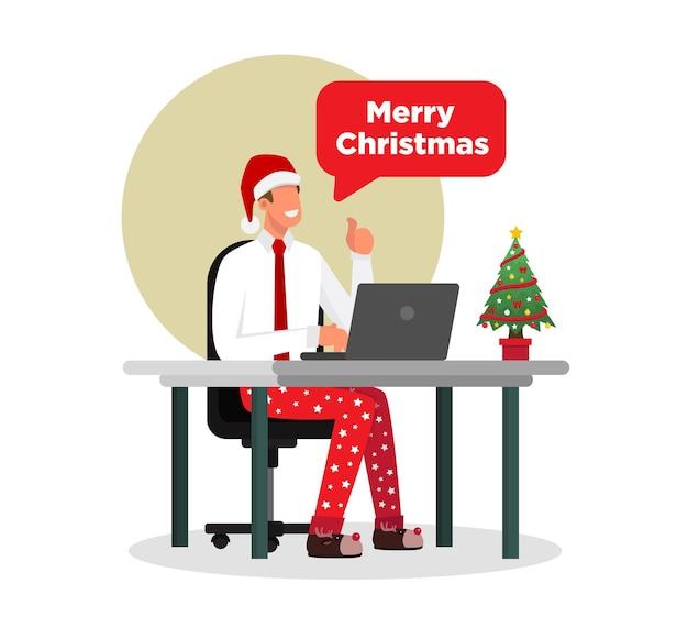 Geschäftsmann, der von zu hause glücklich in der weihnachtszeit arbeitet